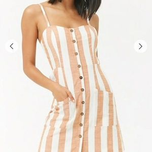 NWT FOREVER 21 BUTTON STRIPED DRESS